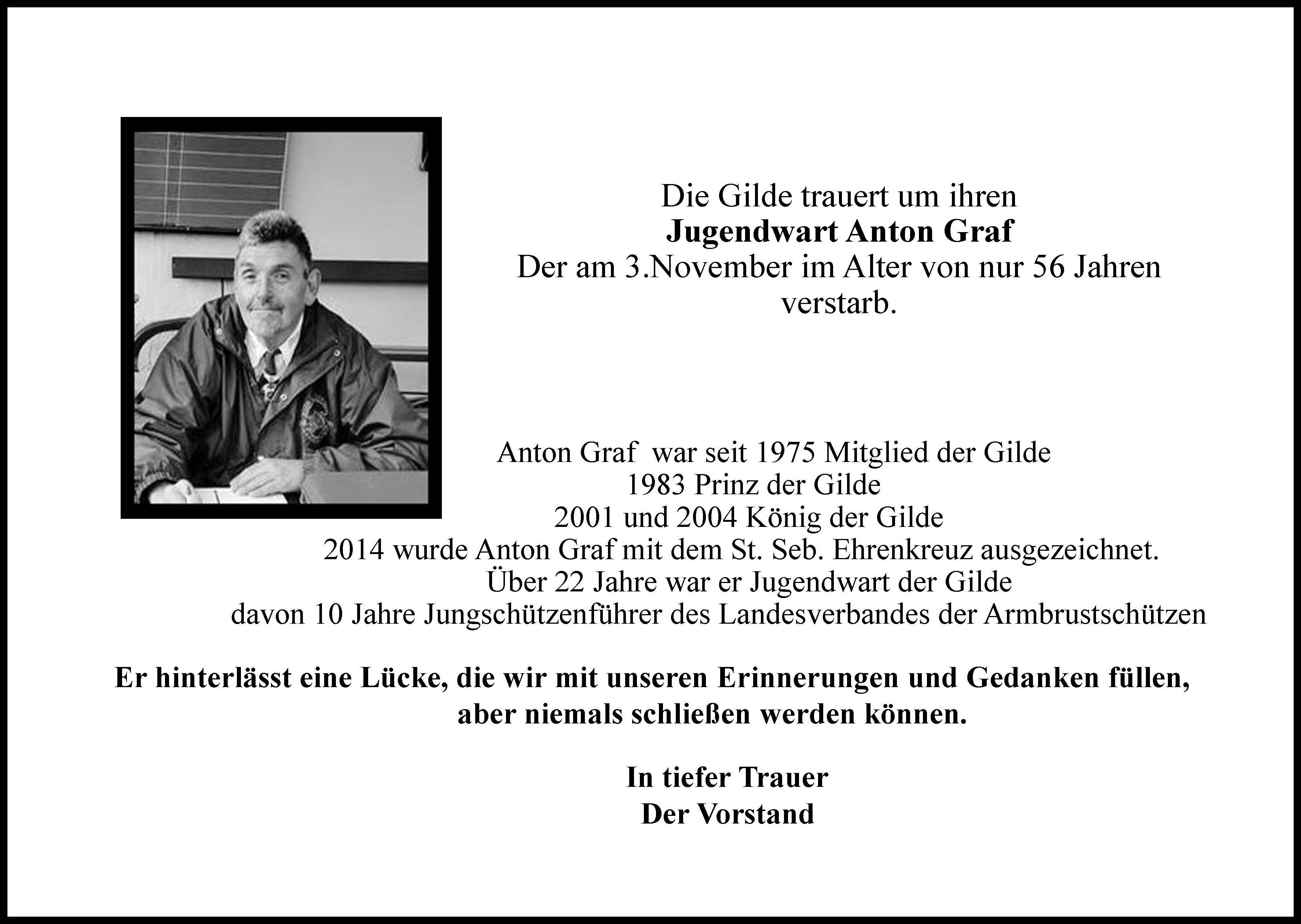 Die Gilde trauert um Anton Graf